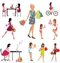 Collection of beautiful fashion young women vector image
