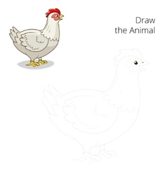 Draw the animal hen chicken educational game vector