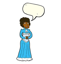 Cartoon shocked victorian woman with speech bubble vector