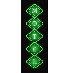 Glowing hotel sign with light neon bulbs retro vector