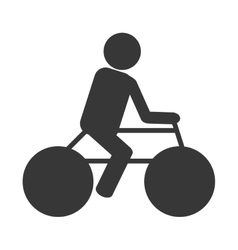 Person silhouette riding a bike vector
