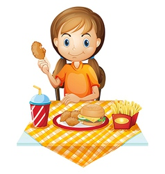 A pretty girl eating at the fastfood restaurant vector
