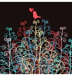 Abstract and bird in love vector