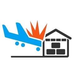 Airplane hangar crash icon vector