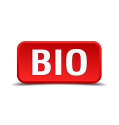 bio red three-dimensional square button vector image