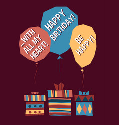 Birthday greeting card in cartoon fun style vector