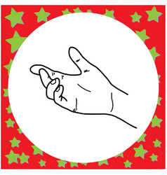 black lines of left hand gesture vector image vector image