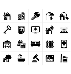 Black real estate business icons vector