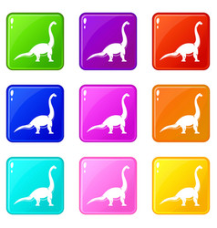 brachiosaurus dinosaur icons 9 set vector image vector image