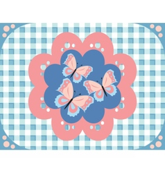 Butterflies gingham pattern vector
