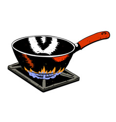 Cartoon image of frying pan on fire vector