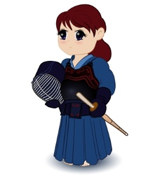 Chibi female kendoka vector