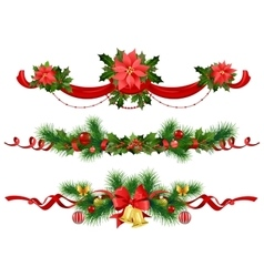 Christmas festive decoration with spruce tree vector image vector image