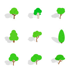 Deciduous trees icons isometric 3d style vector