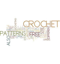 Free crochet text background word cloud concept vector
