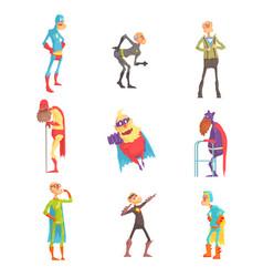 funny elderly superman cartoon characters in vector image