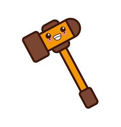 gavel justice symbol kawaii cute cartoon vector image