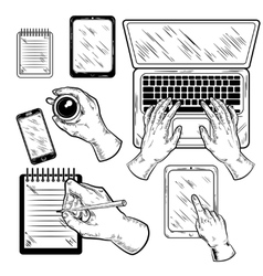 Graphic Workplace With Hands Set vector image
