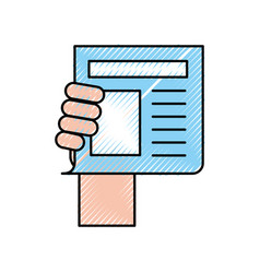 hand human with newspaper journal isolated icon vector image