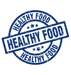 Healthy food blue round grunge stamp vector