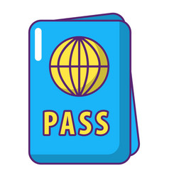 International passport icon cartoon style vector