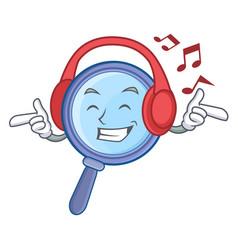 Listening music magnifying glass character cartoon vector