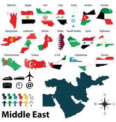 Maps with flags of middle east vector
