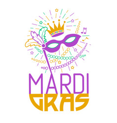Mardi gras party mask greeting card vector