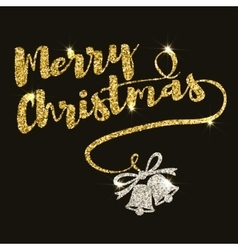 Merry Christmas Hand drawn lettering in golden vector image vector image