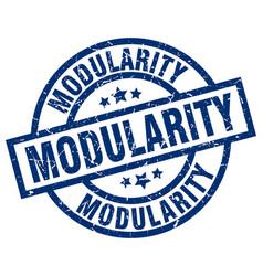 Modularity blue round grunge stamp vector