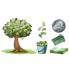 Money grows on tree and different types of money vector