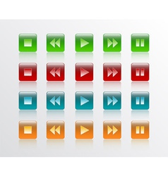 Music player button square in 4 colour vector