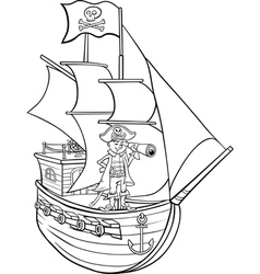 Pirate on ship cartoon coloring page vector