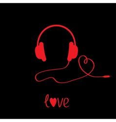 Red headphones with cord black background love vector