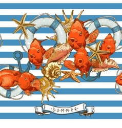 Sea Card with Anchor Lifeline and fish vector image vector image