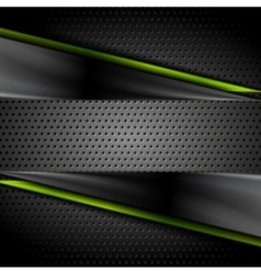 Tech dark glossy background with perforated metal vector image vector image