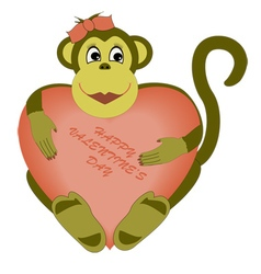 valentines day monkey vector image vector image