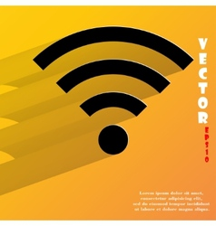 WI-FI Flat modern web button with long shadow and vector image