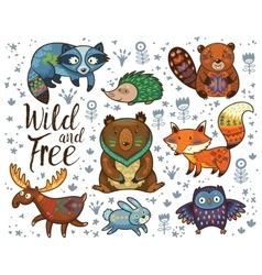 Wild and free woodland tribal animals set vector