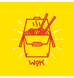 Wok noodles in box graphic vector
