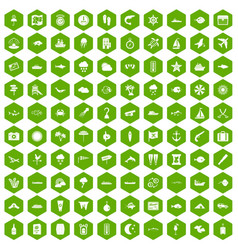 100 marine environment icons hexagon green vector