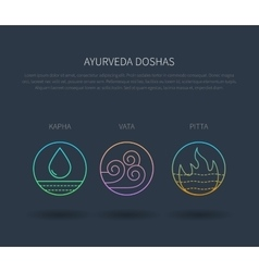 Ayurveda doshas thin icons isolated on dark vector