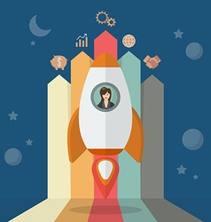 Business woman on a rocket with arrow bar chart vector