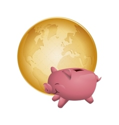 Piggy planet money financial item design vector