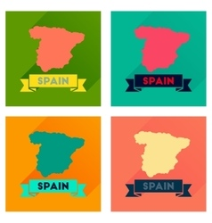 Concept flat icons with long shadow spain map vector