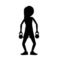 Girl lifting weight design vector