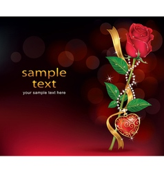 Beautiful roses with ribbon and necklet vector