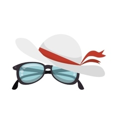 hat female with glasses vector image