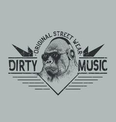 Music fan gorillastreet style label vector
