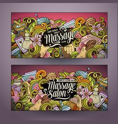 cartoon doodles massage salon 2 horizontal banners vector image